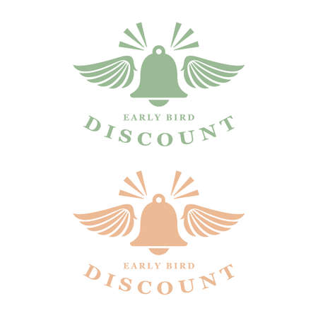 Vintage early bird discount vector icons set on white background