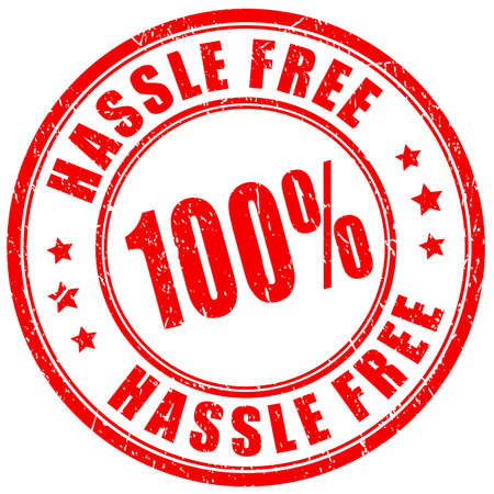 Hassle free vector stamp on white background