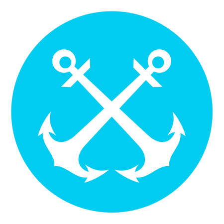 Retro nautical vector icon with anchors on white background