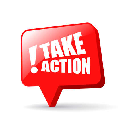 Take action glossy web icon on white background