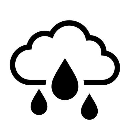 Cloud and rain weather vector icon isolated on white background Illustration