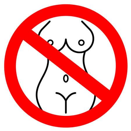 Signe de vecteur interdit nudité isolé sur fond blanc