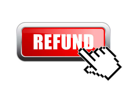 Request a refund vector web button on white background Stock Illustratie