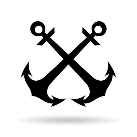 Crossed anchors maritime vector icon on white background