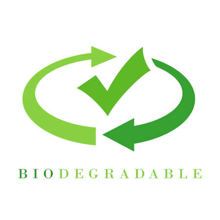 Abstract biodegradable icon with arrows and tick isolated on white background