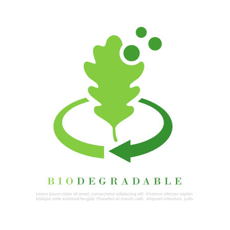 Biodegradable abstract with oak leaf, vector illustration