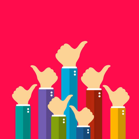 Many people showing thumb up sign, recognition concept vector illustration