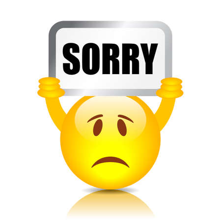 Emoticon with sorry sign, vector illustration on white background