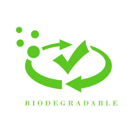 Abstract biodegradable logo with cycle arrows and tick mark