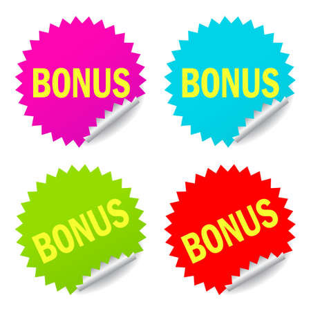 Bonus vector stickers set isolated on white background Stock Illustratie