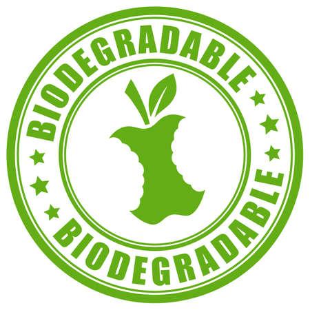 Biodegradable green round label illustration