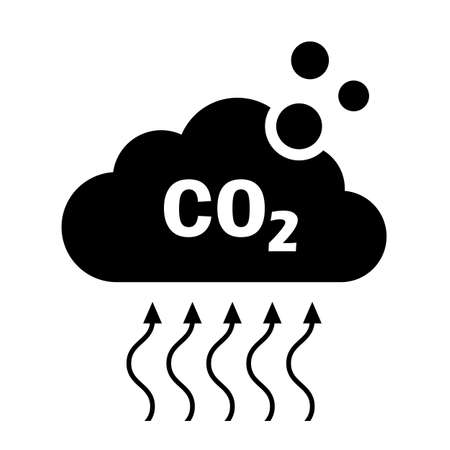 Carbon dioxide CO2 emission vector icon on white background