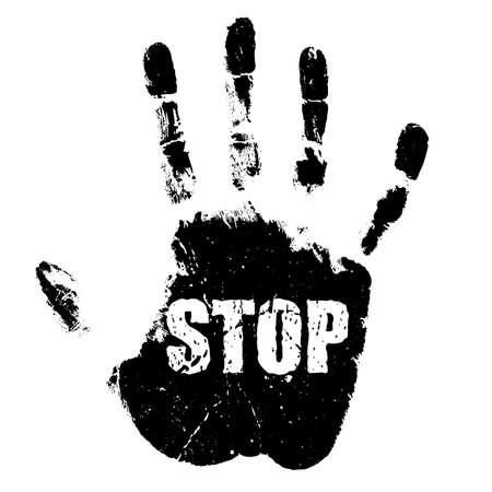 Grunge hand print, stop sign on white background Ilustración de vector