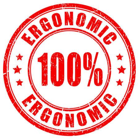Ergonomic vector stamp on white background