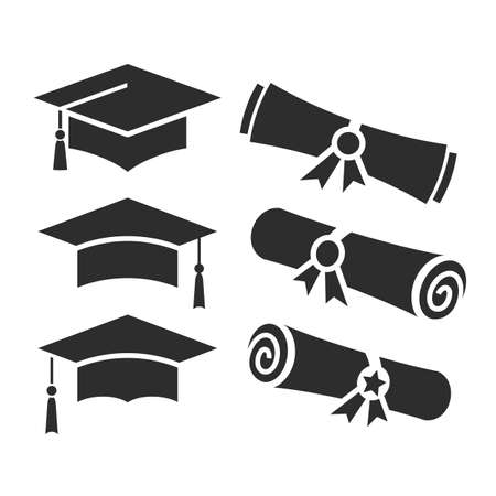 Education vector icons, academic hat and graduation diploma on white background Vektorgrafik