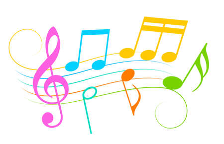 Colorful music notes and melody icon, vector illustration on white background