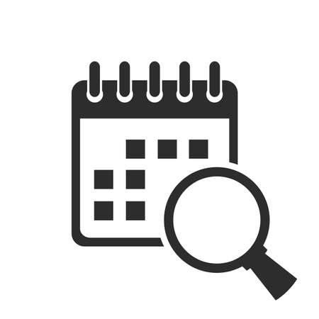 Event search in calendar vector icon isolated on white background