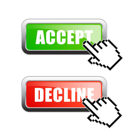 Accept or decline vector buttons isolated on white background