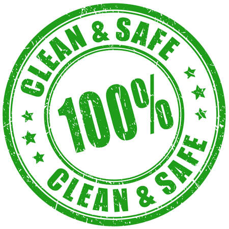 Clean and safe product, green imprint on white background