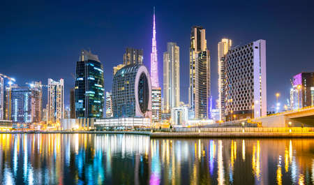 Dubai city ultramodern skyline, Arab Emirates Editorial