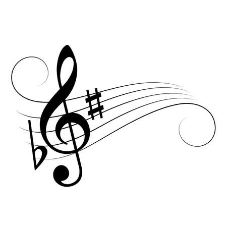 Music note staff vector cartoon isolated on white background