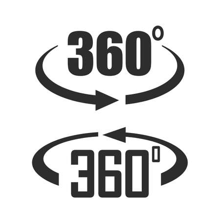 360 degree vector icons set isolated on white background