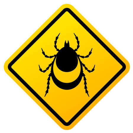 Beware of ticks warning vector sign on white background