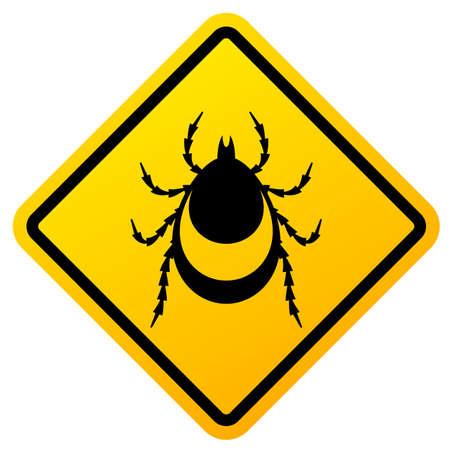 Beware of ticks warning vector sign on white background
