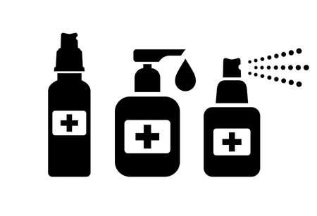 Hand sanitizer bottle vector icons on white background