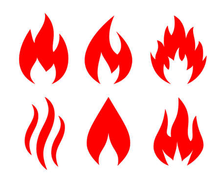 Red blazing fire vector icons isolated on white background