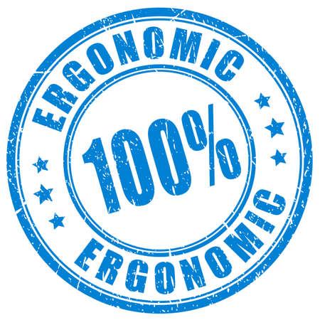 Grunge ergonomic ink stamp on white background Vettoriali