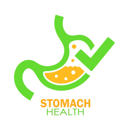 Stomach health vector logo isolated on white background Illustration