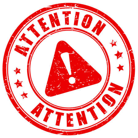 Attention caution stamp isolated on white background