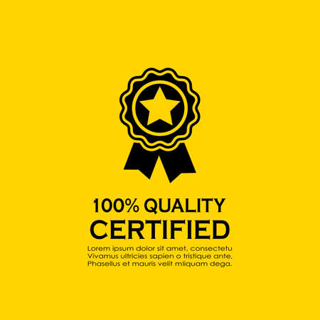 Certified quality vector badge on yellow background