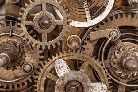 Old clock mechanism, macro photo