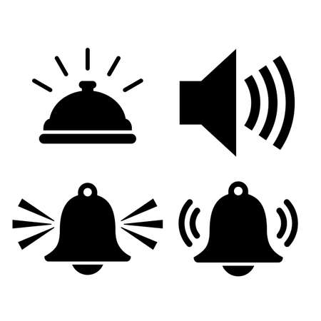 Sound alarm vector icons set isolated on white background  イラスト・ベクター素材