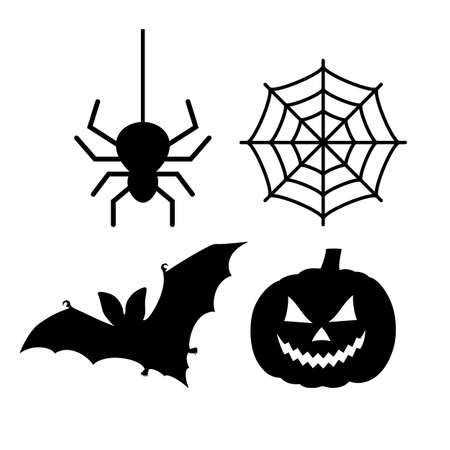 Halloween vector icons set isolated on white background