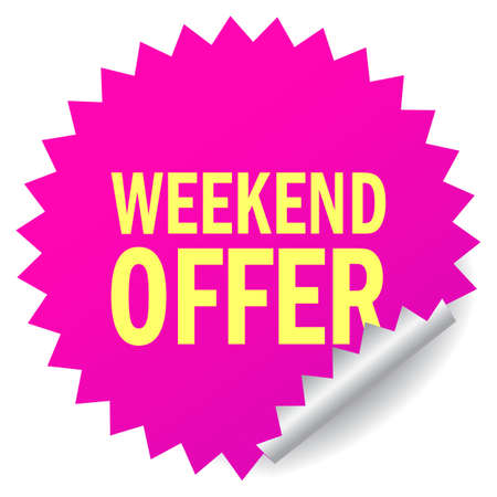 Weekend offer star note paper on white background