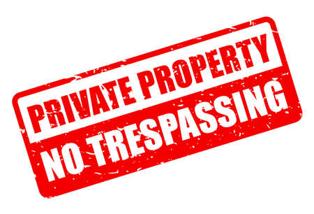 Private property, no trespassing grunge sign on white background