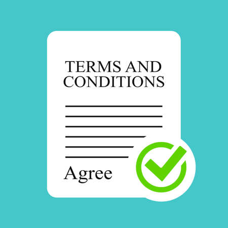 Terms and conditions contract flat icon on blue background