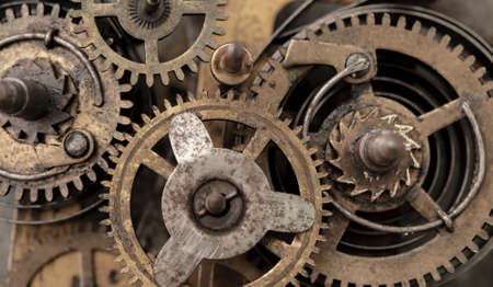 Ancient clockwork, old gears mechanism