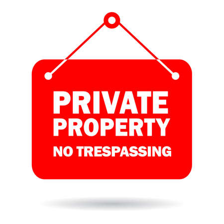 Private property sign, no trespassing warning board on white