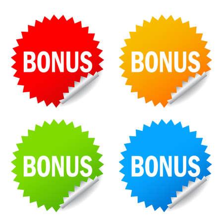 Bonus vector stickers isolated on white