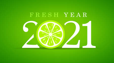 Happy fresh year 2021, greeting card design on green Vetores