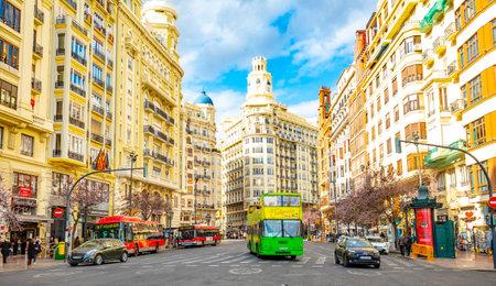 Valencia, Spain - 3 March, 2020: View of Valencia city, Placa de l'Ajuntament street