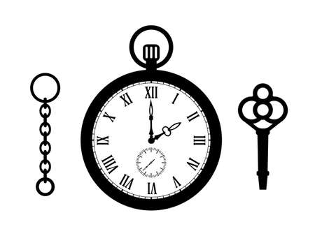 Old pocket watch vector icon isolated on white background Векторная Иллюстрация