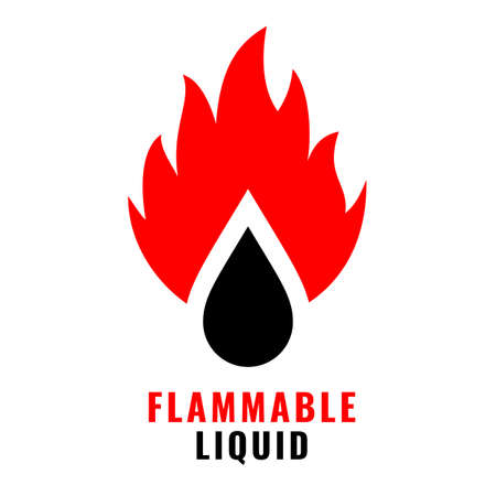 Flammable liquid vector icon isolated on white background