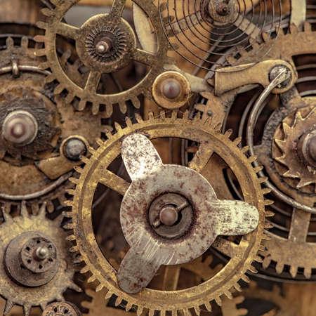 Close-up photo of old clock mechanism Foto de archivo