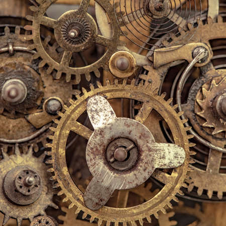 Close-up photo of old clock mechanism Imagens