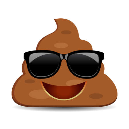 Cool poo in sunglasses, vector emoji cartoon on white background